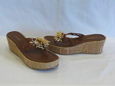 BCBGirls Brown/Multi Color Leather Thong Sandals/Textured Wedge Heel- 10M - NEW!