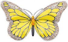 Butterfly Pin Brooch Yellow Silvertone Austrian Crystal Enamel Jewelry Women