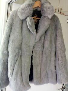 Soft Grey Real Vintage Fur Jacket Size 14