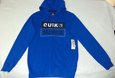 "NWT Quiksilver Long Sleeve Blue Zipper Front Hoodie ""Quiksilver""   Medium   F140"