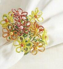 Pier 1 Imports Napkin Ring Beaded Flower Spring New