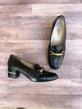 Gucci Vintage Black & Gold Heeled Loafers Size 35