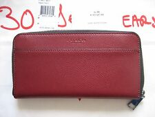 COACH Men's 74977 BCY Accordion Zip-Around Black Cherry Leather Wallet NWT