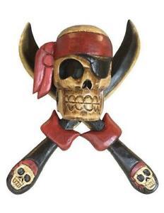 "Wooden Pirate Skull Cross Knives Wall Decor 14x12"" Tiki Bar Man Cave Beach House"