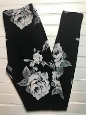 Buttery Soft Leggings Rose Black Background One Size OS