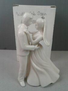 """7 /4"""" high porcelain white wedding cake topper in box"""