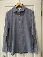 Reiss 'Silver' Cotton Large 100% Cotton Slim Fit Dogtooth Shirt RRP £85