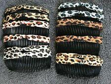 Pack 2 animal print hair combs plastic black slides grips fabric bow cheetah