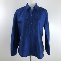 Ralph Lauren Womens Button Down Shirt Cobalt Blue Dupioni Silk Work size Large