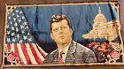 """Vintage JFK President John Kennedy Velvet Tapestry 37"""" x 20"""" Man Cave, Bar."""