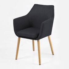 Stuhl Nora Esszimmer Armlehnenstuhl Sessel in Vintage Stoff anthrazit Eiche
