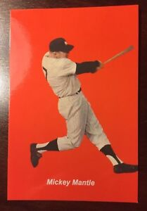 Mickey Mantle's Powerfull Swing is Displayed on Postcard with Red Background