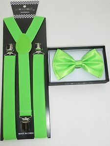New SUSPENDER and BOW TIE Matching SET Tuxedo Wedding Suit  US SELLER