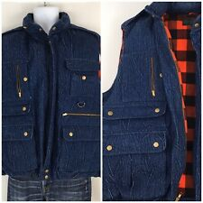 Vintage 90s Denim Down Filled Hunting Vest XL Buffalo Plaid Lined Abercrombie