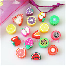 25Pcs Mixed Handmade Polymer Fimo Clay Fruits Flat Spacer Beads Charms 10mm