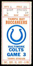 1977 Sept 10 NFL ticket stub Baltimore Colts Bert Jones at Tampa Bay Buccaneers