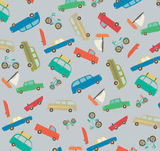 Riley Blake Scenic Route BOYS Fabric C3662 Blue Material by FQ CARS BIKES BOATS