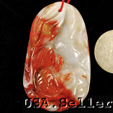 59x36x9mm Natural Carnelian Carved Goldfish & Flower Pendant Bead Jewelry