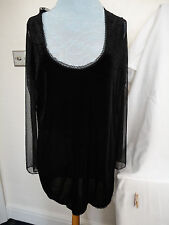 BNWOT BLACK STRETCH VELVET & LACE DRESS/TUNIC - BY BELLADONNA'S BOUDOIR SZ 16/18