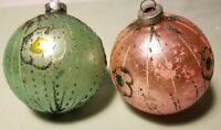 Vtg Shiny Brite Mica Ornaments Handpainted Glass Balls Green Pink Germany