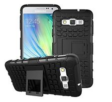Samsung Galaxy A3 Black Heavy Duty Shockproof Hard Case Cover Protector