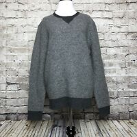 Men's J Crew Gray Two Tone Woven Lambswool Sweatshirt Sweater Size Medium
