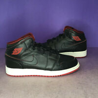 Air Jordan 1 Mid BG Black White Red Size 6Y 554725-028
