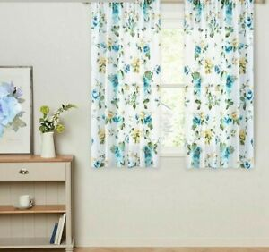 Short Curtains Voile Window Drapes Fabric Floral Printed Treatment Decor Curtain