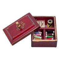 1:12 Miniature Vintage Sewing Box with Lid Winered Dollhouse Decoration Ac U5I5