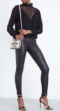 KAREN MILLEN BLACK SKINNY STRETCH-LEATHER LEGGINGS SIZE UK 10 RRP £550