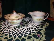 Vintage Meito China Hand Painted Red Border Floral Sprays Sugar Bowl & Creamer