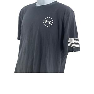 Under Armour Black White Large Freedom Flag Short Sleeve Athletic Shirt#K5