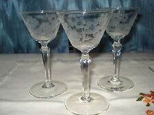CRYSTAL ETCHED CORDIAL STEMMED GLASSES 12 ELEGANT FOR ANY OCCASION