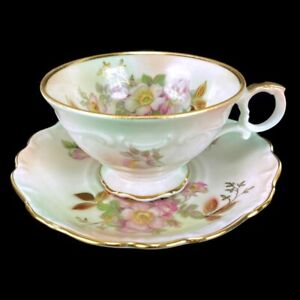 Schumann Arzberg Bavaria Tea Cup Saucer China Pink Flowers Gold Trim Germany 36