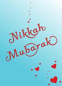 Nikkah Mubarak Card (Blue) Wedding blue with hearts