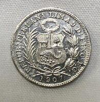Peru 1907 FG 1/2 Dinero Uncirculated