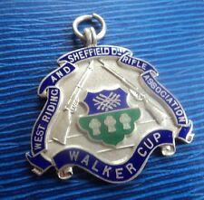 Vintage Plata De Ley & Esmalte Sheffield Rifle Club-medalla De Tiro 1917