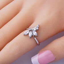 Perfect Women Ring Clear Cubic Zirconia White Gold Filled Size 6 Wedding