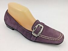 Anne Klein iflex Purple Suede Loafers Flats Buckle Accent size 8M w/ flaw O2