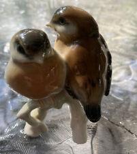 Royal Copenhagen Denmark Pair Sparrow Birds Porcelain Figurine Vintage Branch