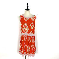 Tigerlily Size 10 Red Floral Dress Sleeveless Low Back Short Summer Shift