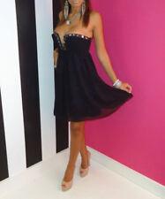 Lipsy Stunning Black Chiffon Diamante Embellished Strapless Dress Size 10 BNWT