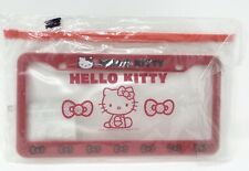 New Sanrio 2009 Hello Kitty Car License Plate Frame Cover Red With Zip Pouch