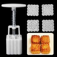 4 Flower Stamps Moon Cake Mould Square Mooncake Mold Baking Decor Tools