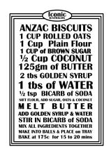 NEW ANZAC Biscuits Bikkies Recipe 100% Cotton Kitchen Tea Towel