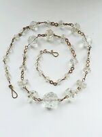 Vintage Czech Clear Glass Faceted Bead Rolled Gold Wire Necklace