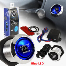 12V Car Keyless Engine Ignition Power Switch Button Blue Led Light Universal