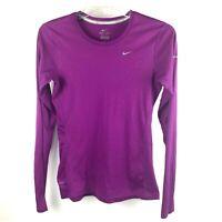 NIKE Running Dri-Fit Long Sleeve Purple Pullover Shirt Womens size Small