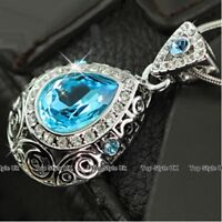 Aquamarine Crystal Necklace Women Gifts for Her Girls Ladies Wife Daughter B5