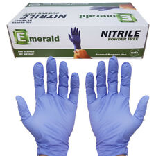 100 Nitrile Gloves Large Powder Free Emerald Rubber Gloves Non-Latex Free Ship